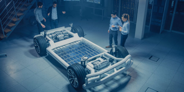 Team,Of,Automotive,Engineers,Working,On,Electric,Car,Chassis,Platform,